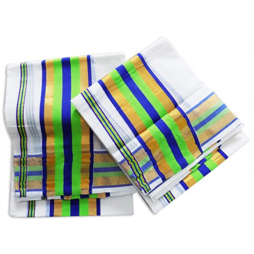Traditional Double Colour Big Border Kasavu Mundu