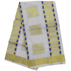 Kerala simple Color Butta Kasavu saree