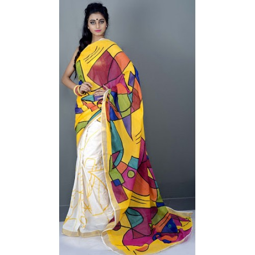 Fusion Hand Painted Design Kerala Saree