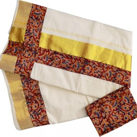 Kasavu Saree With Kalamkari Border
