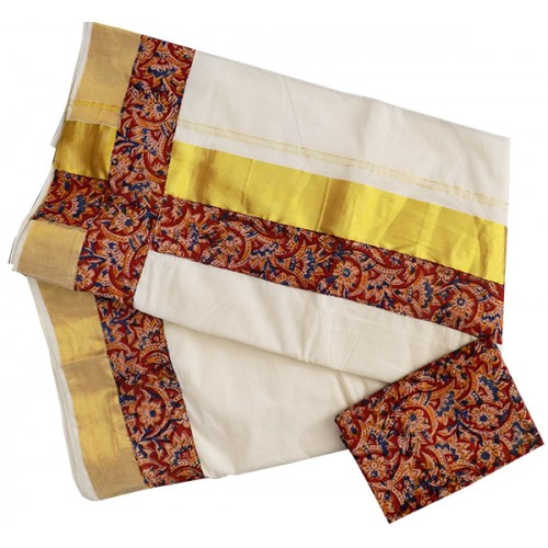 Kerala Kasavu Settu Saree With Kalamkari Border
