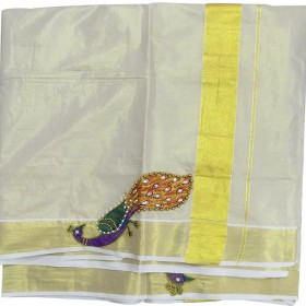 Kerala Peacock patch Kasavu Saree