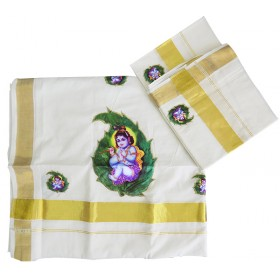 Aalila Krishna Patch Work Kerala Settu Mundu