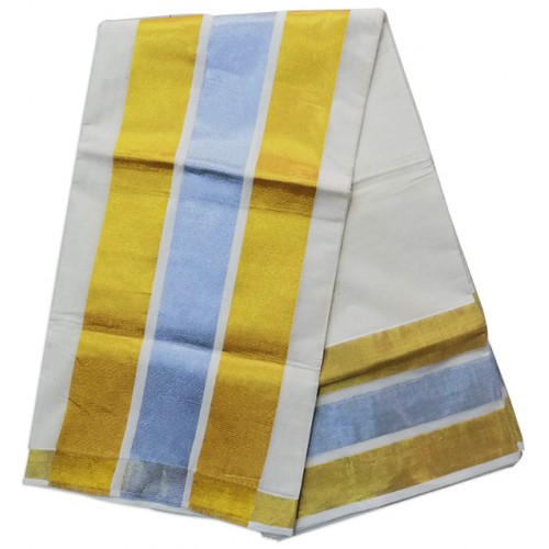 Big Border Silver with Gold Kasavu Saree