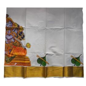 Big Krishna Mural Print Pattu Pavadai