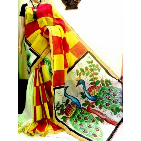 Tradition Mix Peacock Painted Kasavu Saree