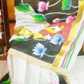 Buddha Hand Painted Kerala Saree