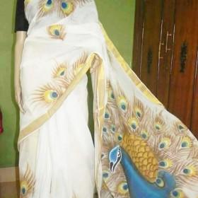 Kerala Saree Hand Painted Dancing Peacock