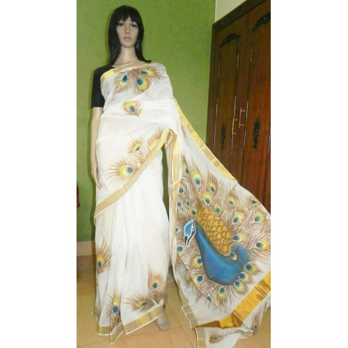 Kerala Saree Hand Painted Dancing Peacock