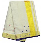 Mirror work Fancy Kasavu saree