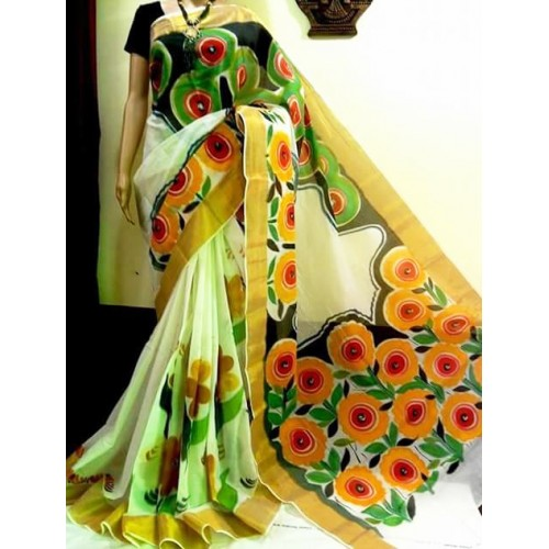 Floral Hand Painted Traditional Kerala Kasavu Saree