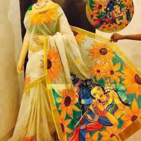 Kerala Saree with flower Radha Krishna Painted