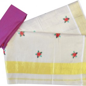 Flower Embroidery Work Tissue Kerala Saree