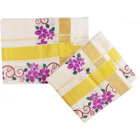 Flower Print Kerala Settu Mundu