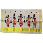 Folk Print Tissue Kasavu Saree