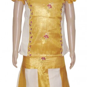 Golden Brocade With Floral Embroidery Pattu Pavadai