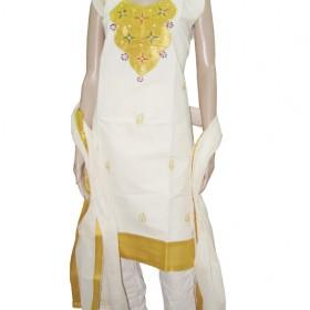Golden Kasavu Tissue Neck Work Churidar