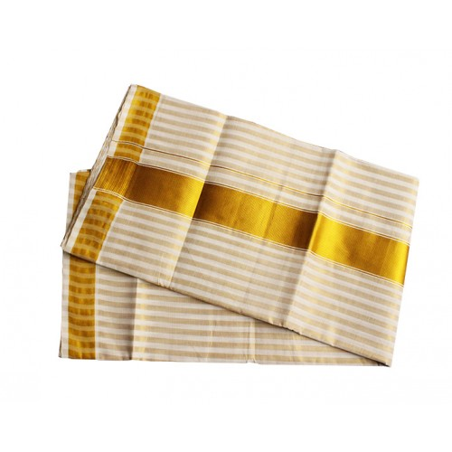 Golden Stripe Kasavu Saree