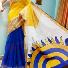 Konark Sun design Hand Painted Kasavu Saree