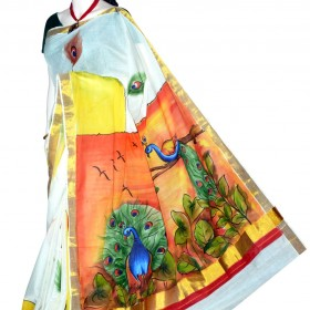 Hand Painted Kasavu Saree With Natural Peacock Design