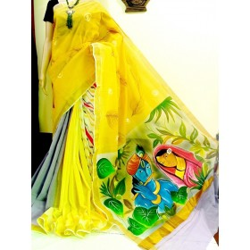 Hand Painted Multi Colored Krishna Kerala Saree