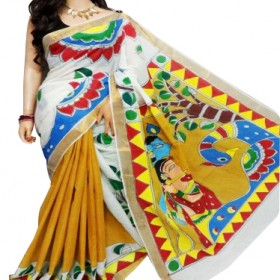 Hand Painted Kasavu Saree Half Saree Model
