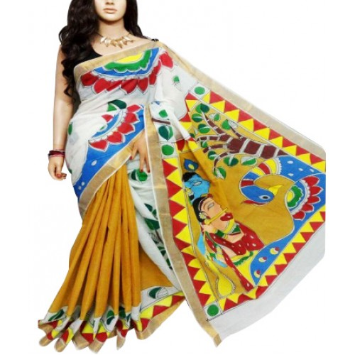 Hand Painted Kasavu Saree Half Saree Model