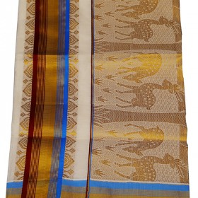 Ivory Cotton Kasavu Saree
