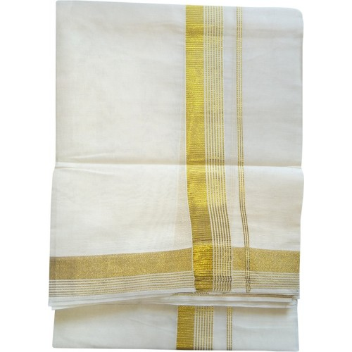 Kerala Kasavu Double Mundu Trendy Design