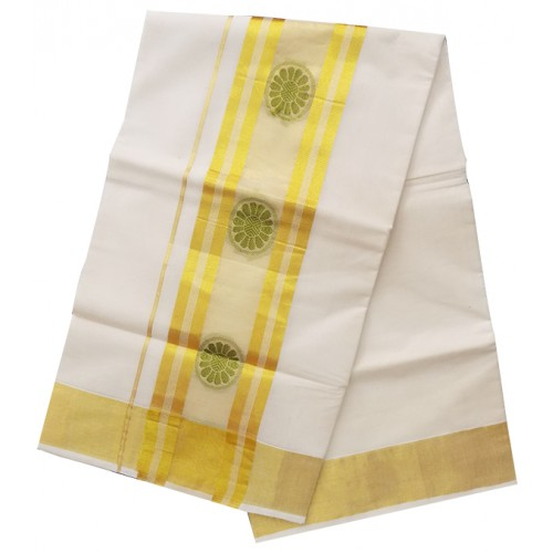 Kerala Flower Butta Kasavu Saree