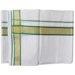 Kerala Green Golden Striped Kasavu Double Mundu