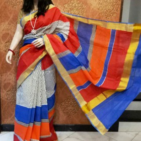 Kerala Hand Painted Saree With Contrasting Color