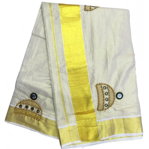 Jimmiki Design Tissue Kasavu Saree