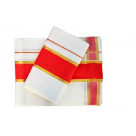 Kuthampully Kerala Style Set Mundu Red