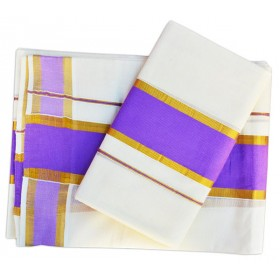 Kerala Kasavu set Mundu with Violet Brocade