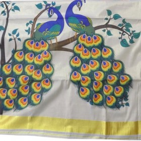 Kerala Kasavu Saree with Peacock Design