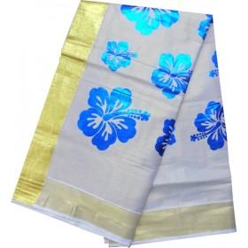 Kerala Trendy Floral Design Kasavu Saree