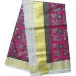 Kerala Simple Flower Design Kasavu Saree