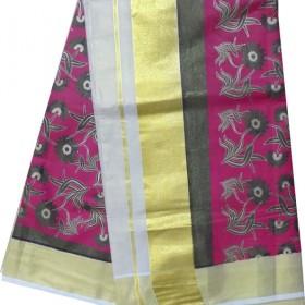 Kerala Simple Flower Design Kasavu Saree