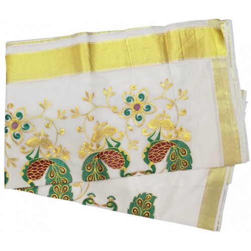 Kerala Kasavu Saree with Peacock Embroidery Design