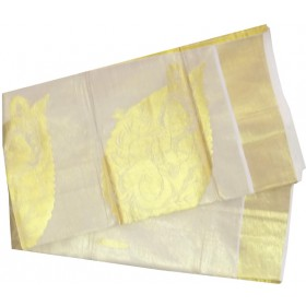 Kerala Kasavu Tissue Saree Krishna Emboss