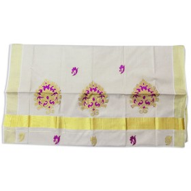 Kerala Patch tissue Kasavu Saree