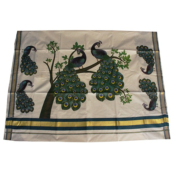 buy traditional mural print peacock design saree. Black Bedroom Furniture Sets. Home Design Ideas