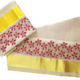Vishu Special Brocade Design Kasavu Tissue Settu Mundu