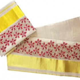 Onam Brocade Design Kasavu Tissue Settu Mundu