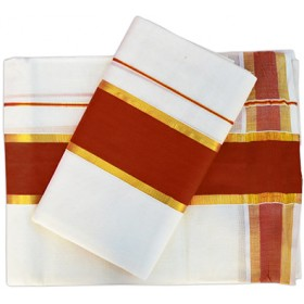 Kerala Traditional Kasavu Mundu with Maroon Border