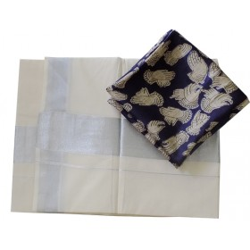 Kerala Silver Saree with Kalamakari Blouse