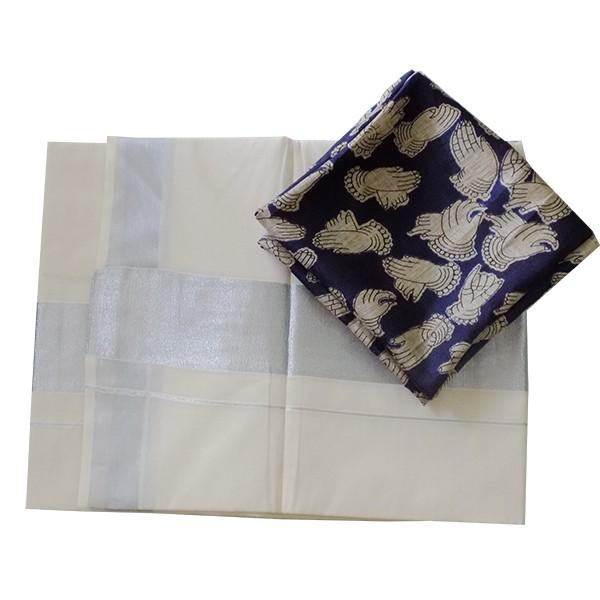 ec30d27d67a Buy Kerala Silver Saree with Kalamakari Blouse