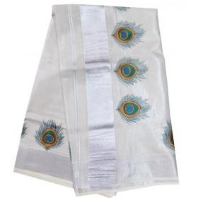 Kerala Silver Tissue Saree Mayil Peeli Design
