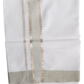 Kerala Silver and Grey combination Double Mundu